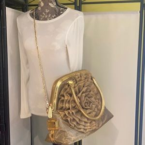 Valentino Gold Mesh Large Dome Bag Tote Crossbody